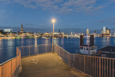 Germany, Hamburg, View from viewpoint Old Elbe Tunnel to harbour and Elbe Philharmonic Hall in the evening light - KEBF00808