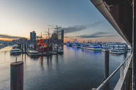 Germany, Hamburg, View from Ueberseebruecke, Niederhafen and Elbe Philharmonic Hall in the morning light - KEBF00814