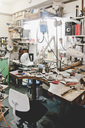 Various work tools on workbench in jewelry workshop - MASF01973