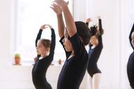 Side view of cute ballerinas performing in studio - CAVF36131