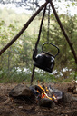 Tea kettle hanging over bonfire at campsite in forest - MASF02766