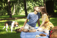 Beagle with couple kissing in park - CAVF36249