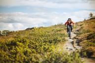 Man mountain biking on dirt road against cloudy sky - MASF03020