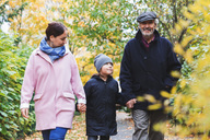 Happy senior man walking with great grandson and daughter in park during autumn - MASF03071