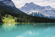 Idyllic view of Emerald Lake against mountains - CAVF36498