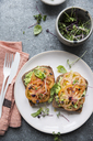 Directly above shot of open faced sandwiches with tomato slices and herbs - MASF03156