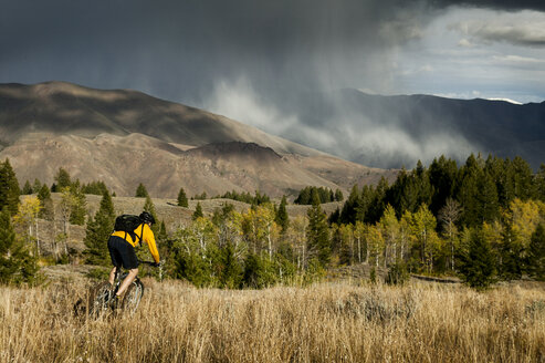 Rear view of man riding bicycle on grassy field against storm clouds - CAVF36675