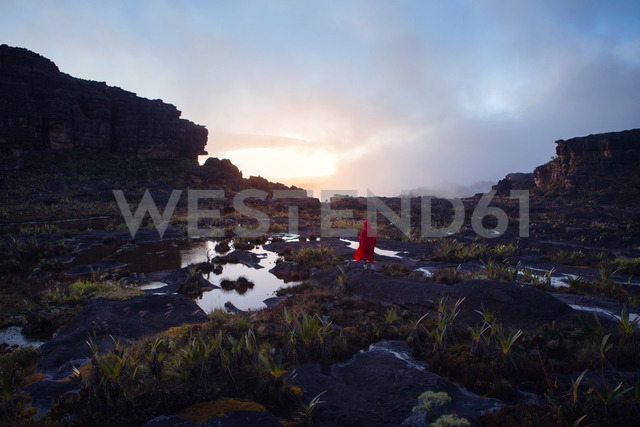 Rear view of man on rock against cloudy sky - CAVF37983