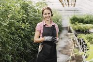 Portrait of smiling female gardener standing in greenhouse - MASF03385