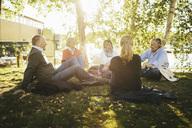 Happy friends sitting on field in park - MASF03562