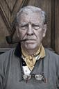 Close up portrait senior man smoking pipe - MASF03715