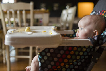 Baby girl looking away while sitting on high chair at home - CAVF38447