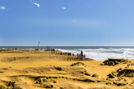 Spain, Canary Islands, Gran Canaria, Maspalomas, beach hiking during stormy weather - FRF00638
