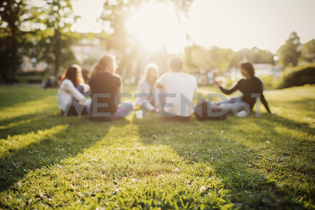 Teenagers spending leisure time while sitting at park - MASF03785