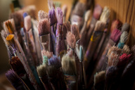 Various old paint brushes at home - MASF04594
