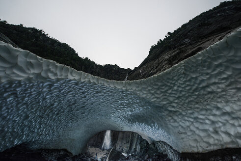 Idyllic view of Big Four Mountain against sky from ice cave at Cascade National Park - CAVF38715