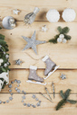 Christmas decoration items, real fir tree green, snow ball candles, skates, bird, Christmas baubles, vintage icicles, stars - GWF05510