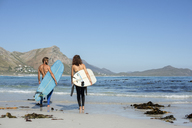 Rear view of friends carrying surfboard while walking at beach during sunny day - CAVF39555
