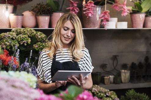 Florist using tablet computer in flower shop - CAVF39843