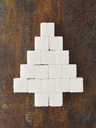 Christmas tree built of sugar cubes on rusty metal - MUF01519