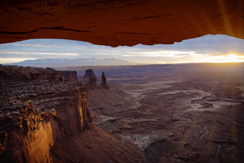 Scenic view of Canyonlands National Park during sunset - CAVF40629