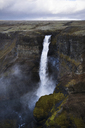 Scenic view of Haifoss waterfall against cloudscape - CAVF40947