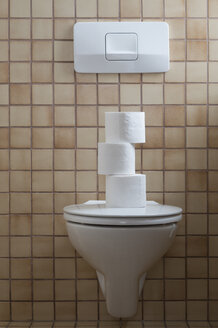 Toilet with stack of toilet paper - CRF02788