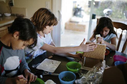 Siblings making gingerbread house at home - CAVF41781