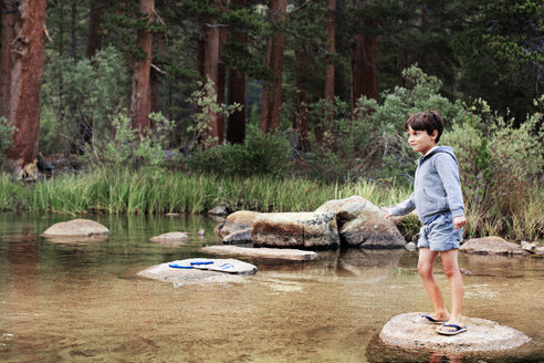 Happy boy standing on rock at stream against trees - CAVF42008