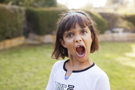 Portrait of playful girl shouting in yard - CAVF42110
