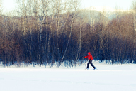 Full length of woman skiing on snow covered field by bare trees - CAVF42217