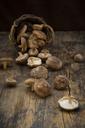 Organic Shitake mushrooms on dark wood - LVF06880