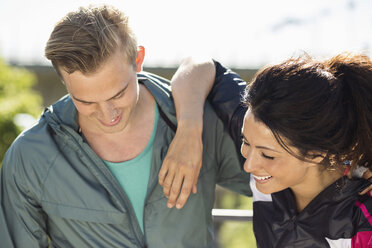 Happy fit couple outdoors - MASF04932