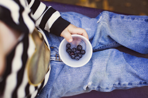Overhead view of boy holding blueberries in bowl outdoors - CAVF43231