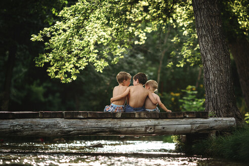 Rear view of shirtless brothers sitting on log over stream in forest - CAVF43507