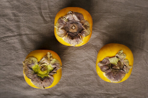 Overhead view shot of persimmons on table - CAVF43690