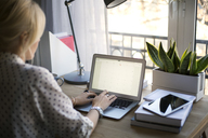 Rear view of woman using laptop at home office - CAVF44047