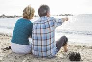 Rear view of couple enjoying sea view - MASF06012