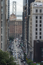 USA, California, San Francisco,  California Street with Bay Bridge in the background - MKFF00353