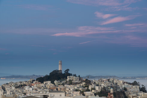 USA, California, San Francisco, Coit Tower and Telegraph Hill in the evening - MKFF00356