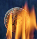Bitcoin with flame and smoke - EJWF00868