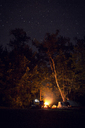 Campfire on field in forest at night - CAVF45885