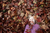High angle view of girl sleeping on maple leaves - CAVF45948