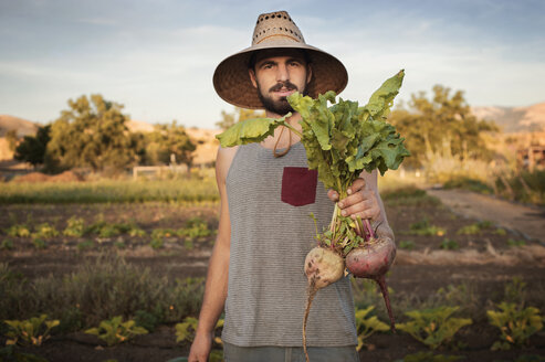 Portrait of confident male farmer holding freshly harvested beetroots on field - CAVF47444