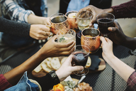 Cropped image of happy friends toasting drinks while sitting in backyard - CAVF47997