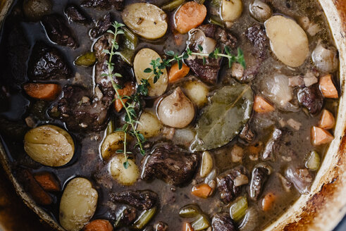 Overhead view of beef stew in bowl - CAVF48081