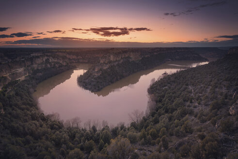 Spain, Castile and Leon, Segovia, Hoces del Rio Duraton Natural Park at sunset - DHCF00184