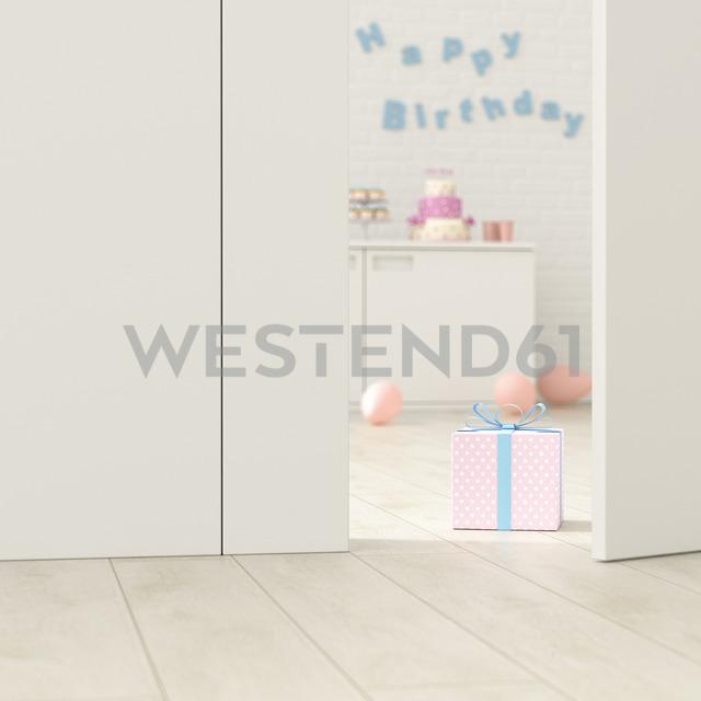 Birthday room behind ajar door, 3d rendering - UWF01379