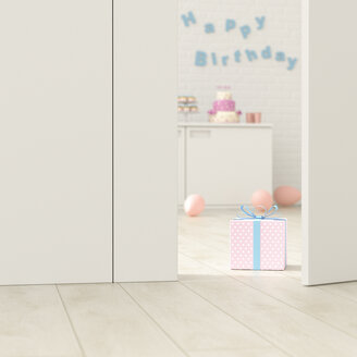 Birthday room behind ajar door, 3d rendering - UWF01379