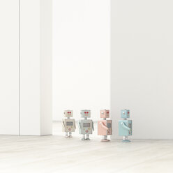 Robots walking in a row in an empty room, 3d rendering - UWF01382